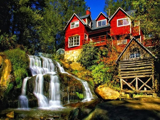 عکسی جالب و زیبا از خانه بر روی درخت در کنار آبشار